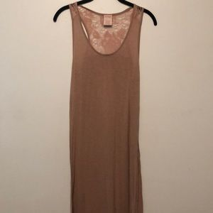 Cabernet Mauve Knit & Lace Fitted Maxi Dress Small